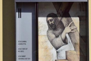 Kurcsis László: Jézus elindul a kereszttel (grafika)
