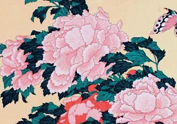 04 Hokuszai Kacusika: Bazsarózsák lepkével