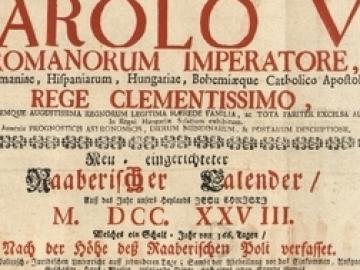 Kalendárium 1727-ből, avagy a győri Streibig-nyomda (1727-1850) legelső kiadványa