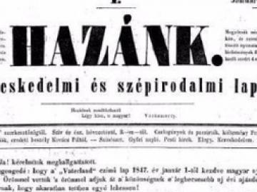 Megjelent az első magyar nyelvű vidéki lap, a Hazánk