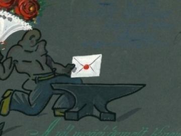 Schima Bandi (1882-1959) egyedi készítésű levelezőlapja